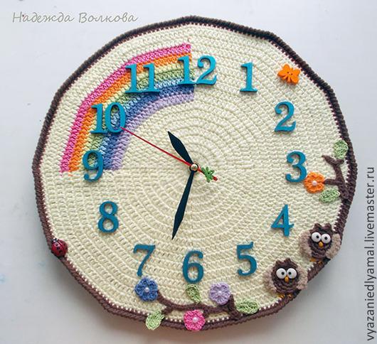 Часы для дома ручной работы. Ярмарка Мастеров - ручная работа. Купить Вязаные часы для детской комнаты, настенные часы. Handmade.