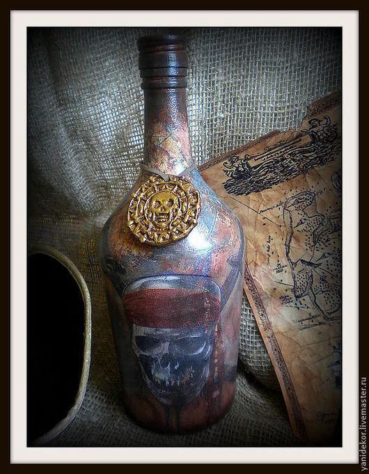 Бутылка декоративная Пиратская.Бутылка декупаж.Подарок мужчине на 23 февраля