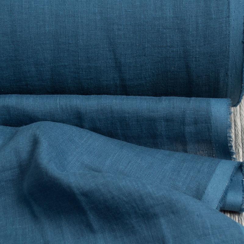 Лён плательно-блузочный умягченный морская волна. Энзимная стирка, Ткани, Минск,  Фото №1