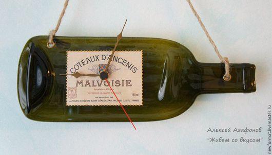 """Приколы ручной работы. Ярмарка Мастеров - ручная работа. Купить Оригинальные часы-панно из """"расплющенной"""" стеклянной бутылки. Handmade."""
