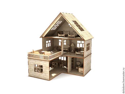 Кукольный дом ручной работы. Ярмарка Мастеров - ручная работа. Купить КД-0000013 Кукольный домик с мебелью. Handmade. Домик