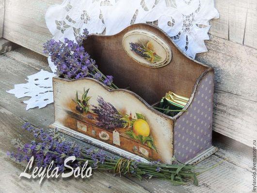 Коробка для пакетиков, для чайных пакетиков короб, лаванда. Для хранения пакетиков короб, короб на кухню. Лаванда.Короб для хранения пакетиков чая. К чаю.