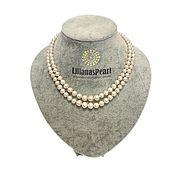 Ожерелье из речного жемчуга в два ряда на убывание от центра 9-6мм АА