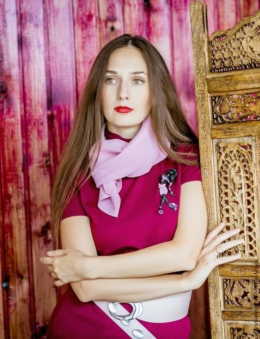 """Броши ручной работы. Ярмарка Мастеров - ручная работа. Купить комплект: брошь """"Бетти""""+платок. Handmade. Бледно-розовый, бордовый"""