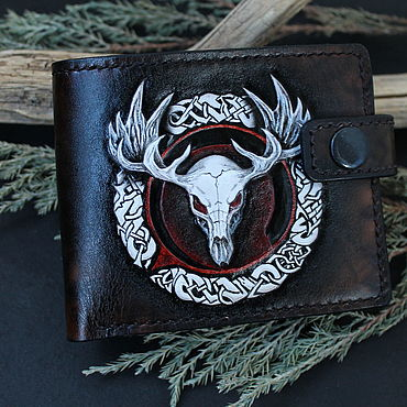 Bags and accessories handmade. Livemaster - original item Wallet, genuine leather. Embossed Skull, the Celts. Handmade.