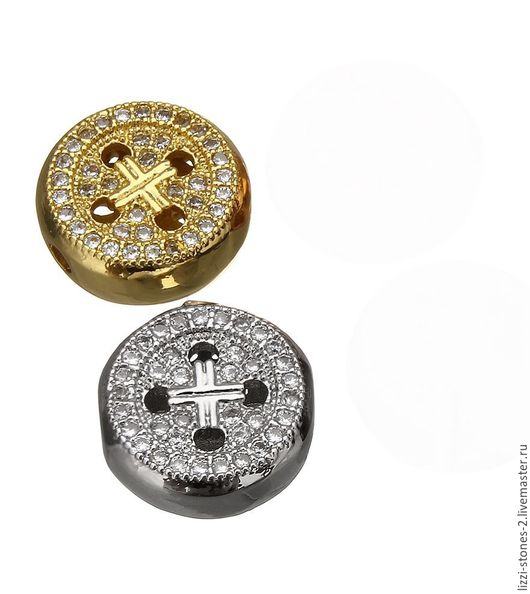 Бусина Пуговица плоская, серебро и золото (Milano) Евгения (Lizzi-stones-2)