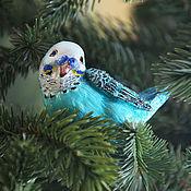 Подарки к праздникам ручной работы. Ярмарка Мастеров - ручная работа Ёлочная игрушка из папье-маше, Волнистый попугай на прищепке. Handmade.