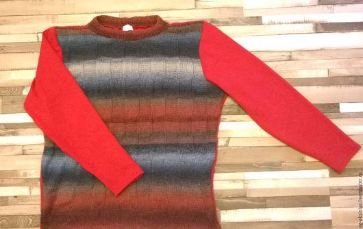 Кофты и свитера ручной работы. Ярмарка Мастеров - ручная работа. Купить Джемпер  мужской вязаный  Дороги радости. Handmade. Коралловый