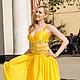 Платья ручной работы. Жёлтое платье. Екатерина. Интернет-магазин Ярмарка Мастеров. Орнамент, атлас