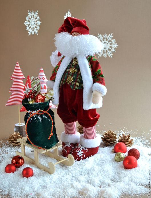 Куклы Тильды ручной работы. Ярмарка Мастеров - ручная работа. Купить Санта Клаус. Handmade. Бордовый, Новый Год, трикотаж
