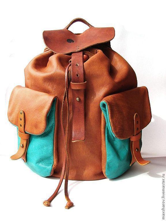 Купить кожаный рыжий рюкзак рюкзак bellasara