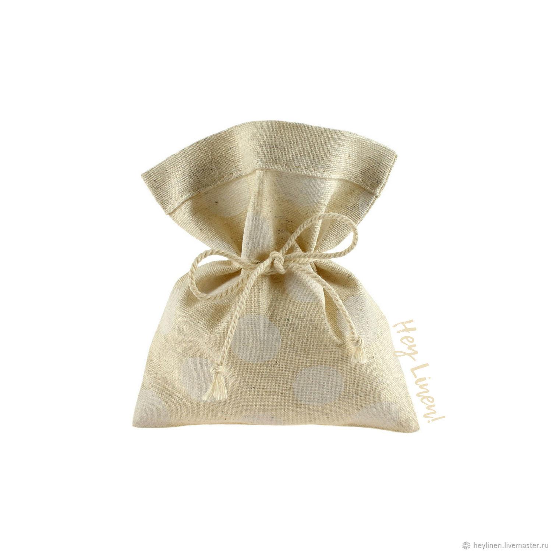 10h12sm10sht. Bags linen beige in white peas, linen cotton, Wedding Accessories handmade, Krasnoyarsk, Фото №1