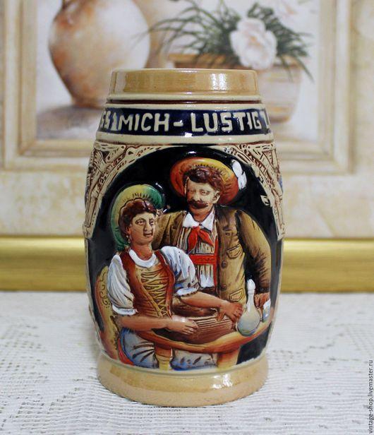 Винтажная посуда. Ярмарка Мастеров - ручная работа. Купить Керамическая пивная кружка, винтаж, Германия. Handmade. Бежевый, для интерьера