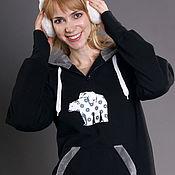 Одежда handmade. Livemaster - original item Black hoodie for women with fur hood, long hoodie warm. Handmade.