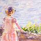 Пейзаж ручной работы. Ярмарка Мастеров - ручная работа. Купить Море, лето, девушка.... Handmade. Разноцветный, васильковый, салатовый, лето