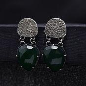 Украшения handmade. Livemaster - original item Druse 8 earrings silver, green chalcedony. Handmade.