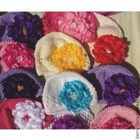 Шапки и шарфы ручной работы. Ярмарка Мастеров - ручная работа. Купить Летняя шапочка с цветком. Handmade. Белый, шапочка детская