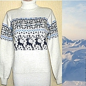 Одежда handmade. Livemaster - original item Sweater with reindeer and Norwegian knitted ornament North. Handmade.