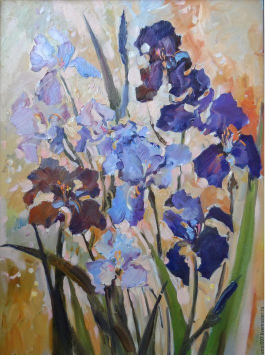 Картины цветов ручной работы. Ярмарка Мастеров - ручная работа. Купить ирисы. Handmade. Живопись в подарок, цветы, ирисы, импрессионизм