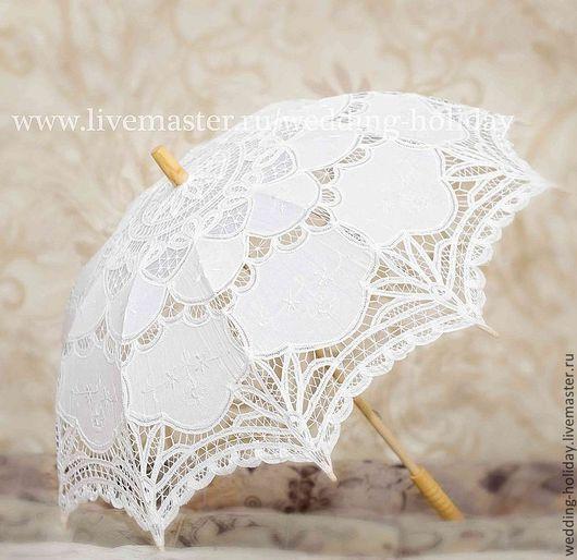 Одежда и аксессуары ручной работы. Ярмарка Мастеров - ручная работа. Купить Свадебный зонтик (белый). Handmade. Белый, зонт