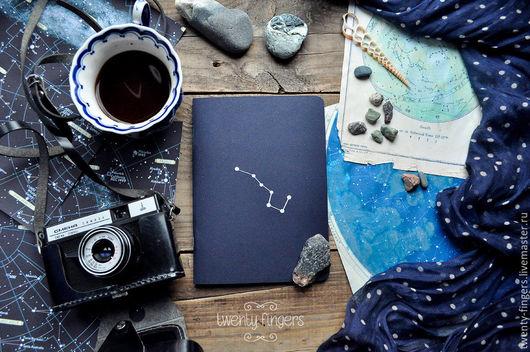 """Блокноты ручной работы. Ярмарка Мастеров - ручная работа. Купить Тетрадь """"Ночь"""" Deep blue А5. Handmade. Тёмно-синий"""