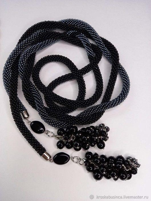 Long beads lariat ' Black currant', Lariats, Novocheboksarsk,  Фото №1