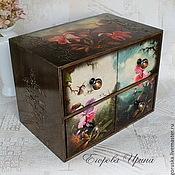 Для дома и интерьера handmade. Livemaster - original item Mini-chest Mysterious orchids. Handmade.