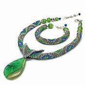 """Украшения ручной работы. Ярмарка Мастеров - ручная работа Колье и сет браслетов """"Green steel"""". Handmade."""