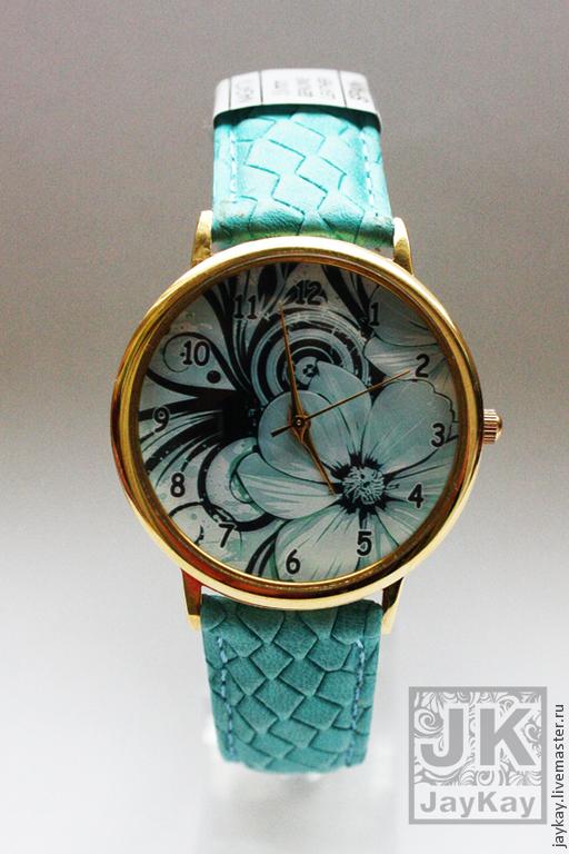 """Часы ручной работы. Ярмарка Мастеров - ручная работа. Купить Часы наручные JK """"Цветы"""" мята. Handmade. Мятный цвет"""