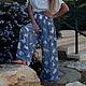 Брюки, шорты ручной работы. Ярмарка Мастеров - ручная работа. Купить Длинная летняя юбка-брюки. Handmade. Голубой, море