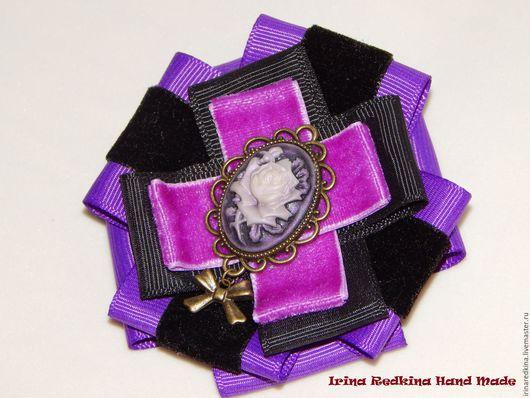 """Броши ручной работы. Ярмарка Мастеров - ручная работа. Купить Брошь """"Purple"""". Handmade. Тёмно-фиолетовый, бархатная лента"""