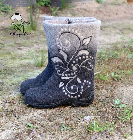 Обувь ручной работы. Ярмарка Мастеров - ручная работа. Купить Валяные сапожки Для полной ножки. Handmade. Серый