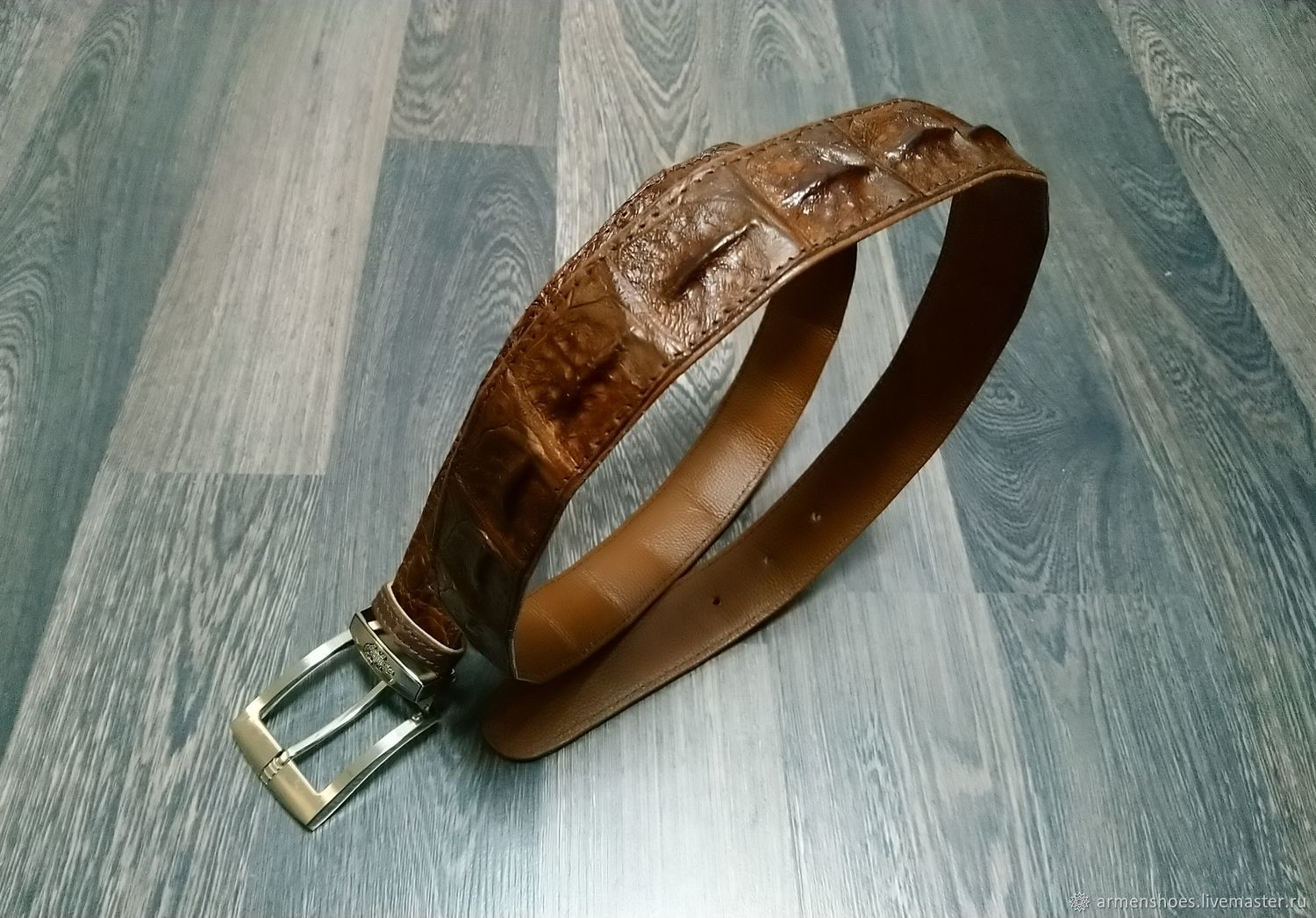 Men's belt, made of a raised part of genuine crocodile leather, Straps, Tosno,  Фото №1