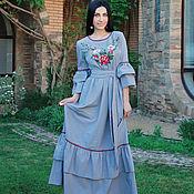 """Одежда handmade. Livemaster - original item Нарядное платье с вышивкой """"Винтажное"""" длинное вышитое платье. Handmade."""