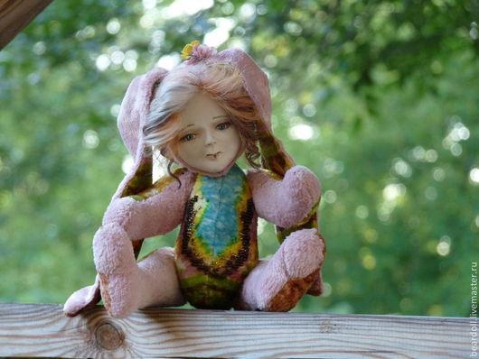 Коллекционные куклы ручной работы. Ярмарка Мастеров - ручная работа. Купить Зая, просто Зая, тедди-долл. Handmade. Розовый