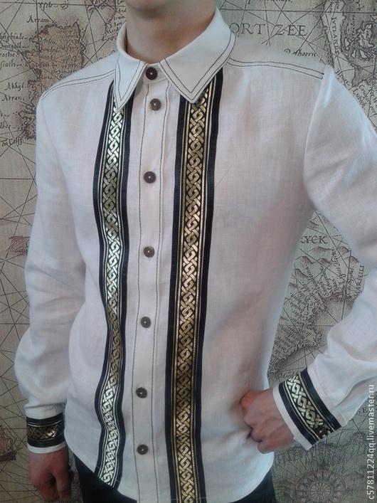 """Для мужчин, ручной работы. Ярмарка Мастеров - ручная работа. Купить Рубаха """"Белая льняная"""". Handmade. Белый, отделка одежды"""