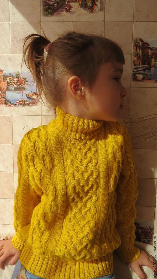 """Одежда для девочек, ручной работы. Ярмарка Мастеров - ручная работа. Купить """"Солнечный"""" мериносовый свитер для девочки. Handmade. Желтый, для детей"""