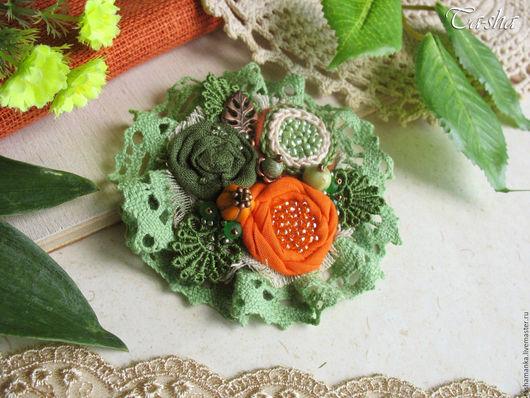 """Броши ручной работы. Ярмарка Мастеров - ручная работа. Купить """"Бархатцы""""  брошь бохо зеленый оранжевый цветок. Handmade. Брошь"""
