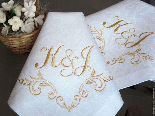 Вышитые салфетки, Салфетки с вышивкой, Декоративные салфетки, Вышитая салфетка, Вышитый текстиль, Вышитая скатерть, Именной подарок, Именная вышивка, Монограмма, Свадебный вензель, Подарок на свадьбу