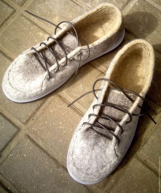Обувь ручной работы. Ярмарка Мастеров - ручная работа. Купить Ботинки мужские,,Теплый гранит''. Handmade. Серый, для отдыха