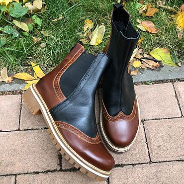 Обувь ручной работы. Ярмарка Мастеров - ручная работа Челси «кор тонир/чёрный» беж подошва. Handmade.