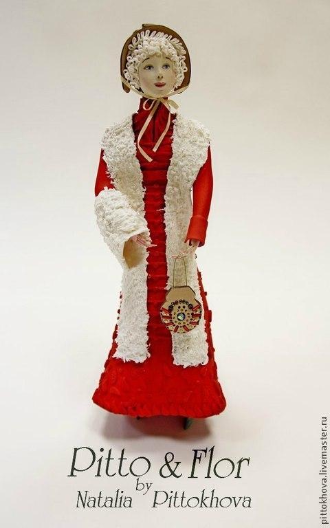 """Коллекционные куклы ручной работы. Ярмарка Мастеров - ручная работа. Купить Кукла из полимерной глины """"Ампир"""". Handmade. Ярко-красный"""
