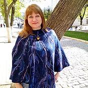 Одежда handmade. Livemaster - original item Poncho felted Leaves on blue. Handmade.