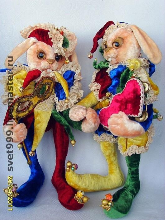 Мишки Тедди ручной работы. Ярмарка Мастеров - ручная работа. Купить плюшевые зайцы Арлекин и Коломбина. Handmade. Зайка, плюш