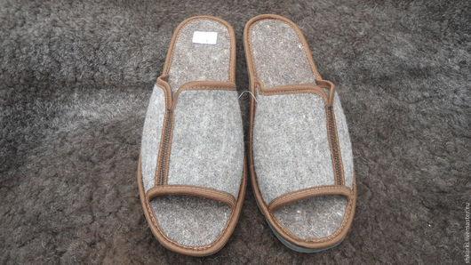 Обувь ручной работы. Ярмарка Мастеров - ручная работа. Купить Мужские войлочные тапочки. Handmade. Тапочки, тапочки из шерсти