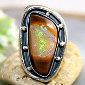 """Кольцо """"Crazy Opal"""" - натуральный болдер опал, серебро"""
