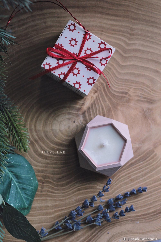 Соевая свеча в бетоне с ароматом лаванды Пудра, Свечи, Санкт-Петербург,  Фото №1