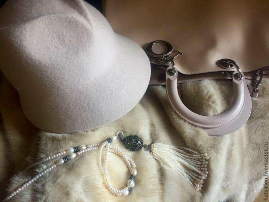 """Шляпы ручной работы. Ярмарка Мастеров - ручная работа. Купить Фетровая шляпка """"Ирина"""". Handmade. Бежевый, фетр, велюр"""