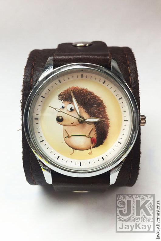 """Часы ручной работы. Ярмарка Мастеров - ручная работа. Купить Часы наручные JK """"Ежик с цветком"""". Handmade. Часы"""