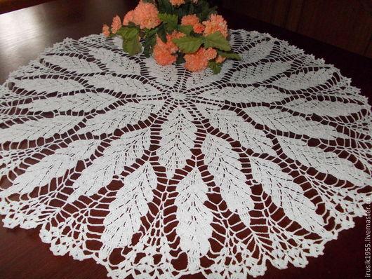 """Текстиль, ковры ручной работы. Ярмарка Мастеров - ручная работа. Купить Салфетка 60см """"Листья"""". Handmade. Белый"""